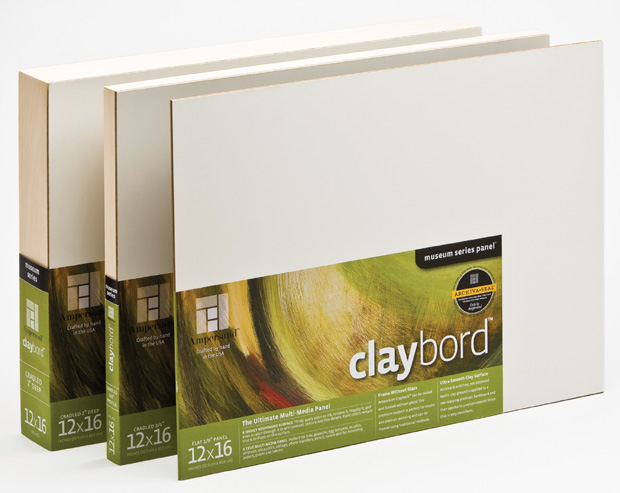 "Ampersand 3/4"" Smooth Cradled Claybord: 18\"" x 36\"", Case of 4"