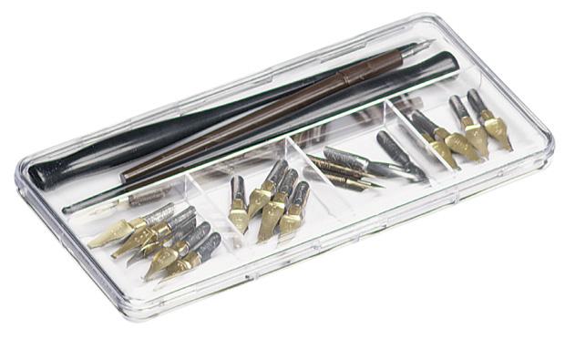 """Flambeau ArtBin Pen & Nib Box: Clear Polymer, 7.37\"""" x 3.62\"""" x .68\"""""""