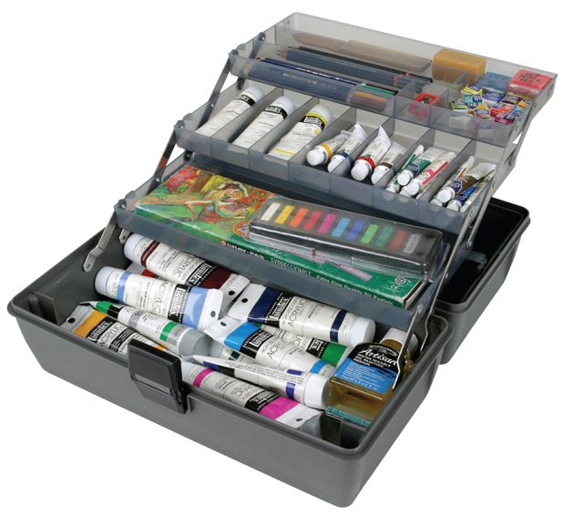 "Artbin Metal Links Upscale 3 Tray Box: Slate Grey, 14.5"" x 8\"" x 7\"""