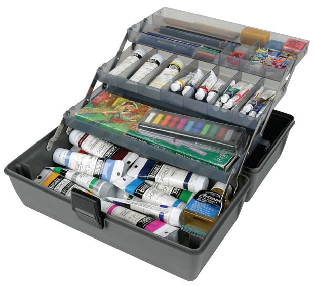 "Artbin Metal Links Upscale 3 Tray Box: Slate Grey, 14.5\"" x 8\"" x 7\"""