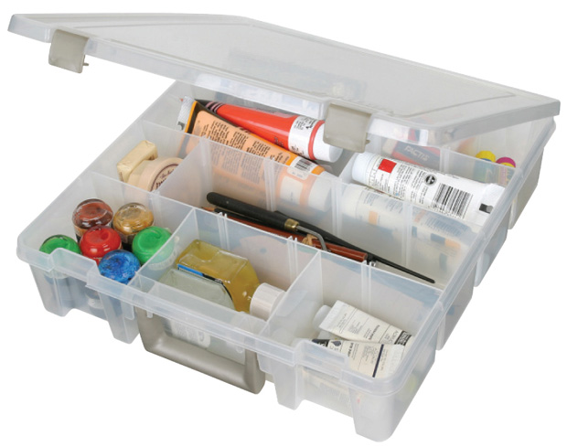 "Artbin Super Satchel with Removable Dividers: Translucent, 15.25"" x 14\"" x 3.5\"""