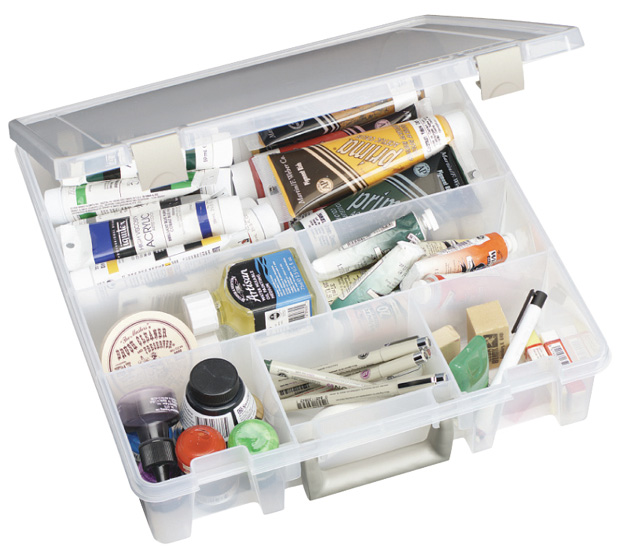 "Artbin Super Satchel: 6 Fixed Divided Compartments, Translucent, 15.25"" x 14\"" x 3.5\"""