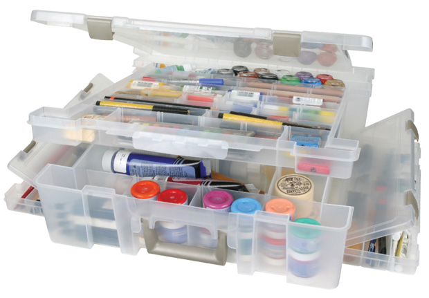 "Artbin Super Satchel Lid/Divided Base Deluxe Translucent: 17.25"" x 16.75\"" x 5\"""