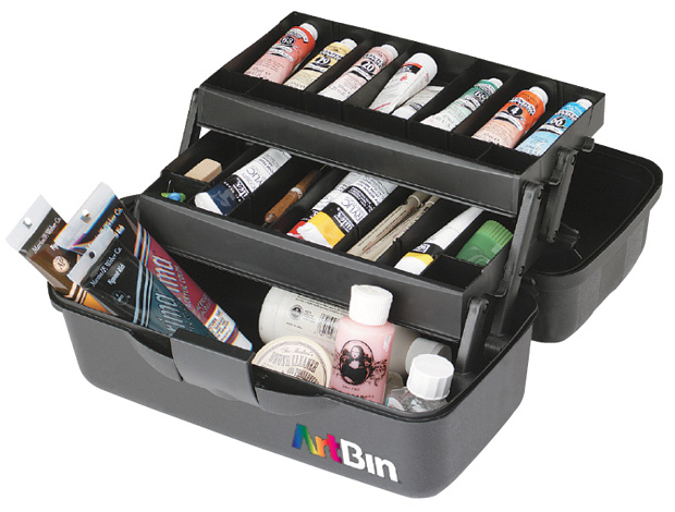 "Artbin Essentials 2 Tray Box: Black, 13.5"" x 8.5\"" x 7.5\"""