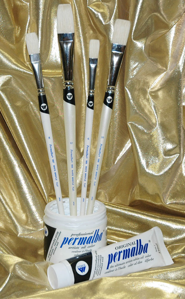 Permalba Oil Brush White Bristle Perfect Flat: Set of 4