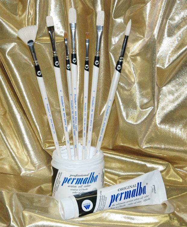 Permalba Beginner Oil Brush White Bristle: Set of 7