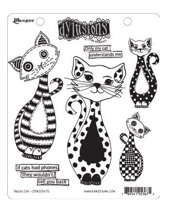 Ranger - Dyan Reaveley - Dylusions - Cling Stamps - Puddy Cat