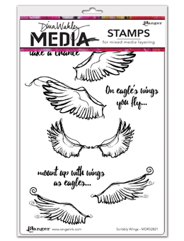 Ranger - Dina Wakley Media - Cling Stamps - Scribbly Wings