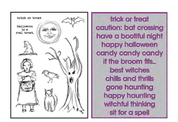 Ranger - Dina Wakley Media - Stamp and Stencil Set - Halloween 2016 - Scribbly Trick or Treat