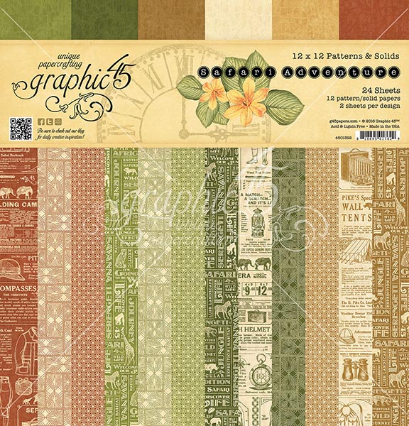 Graphic 45 - Safari Adventure - 12x12 Patterns & Solids Paper Pad