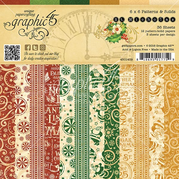 Graphic 45 - St Nicholas - 6x6 Patterns & Solids Pad