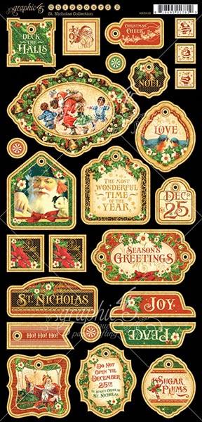 Graphic 45 - St Nicholas - Decorative Chipboard
