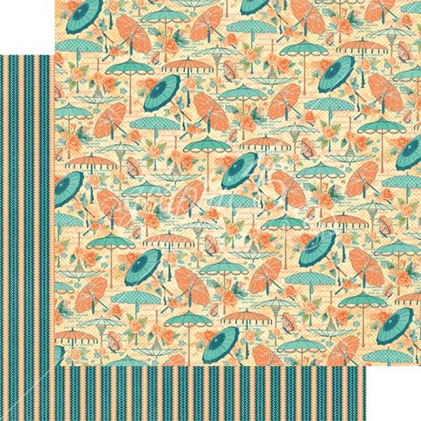 Graphic 45 - Cafe Parisian - Parasol Bouquet 12x12 Paper