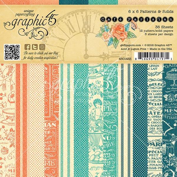 Graphic 45 - Cafe Parisian - 6x6 Patterns & Solids Pad