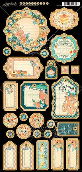Graphic 45 - Cafe Parisian - Journaling Chipboard