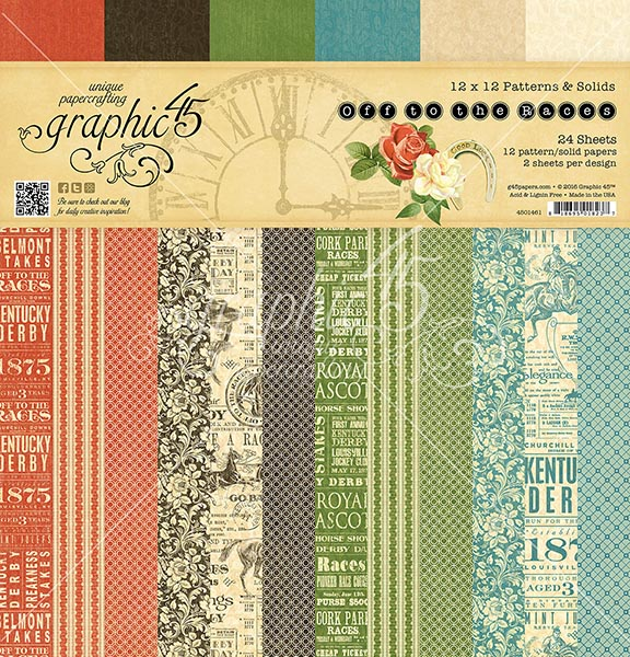 Graphic 45 - Off to the Races - 12x12 Patterns & Solids Pad