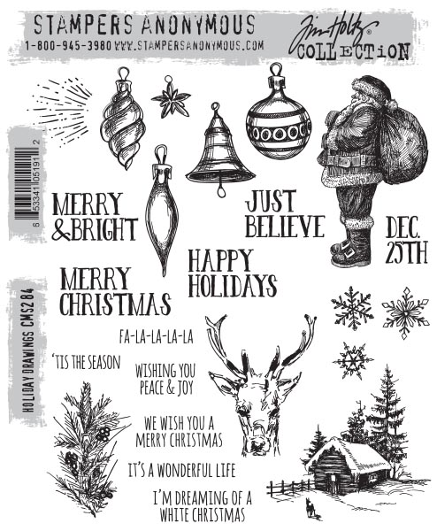 Stampers Anonymous - Tim Holtz - Holiday Drawings Stamps