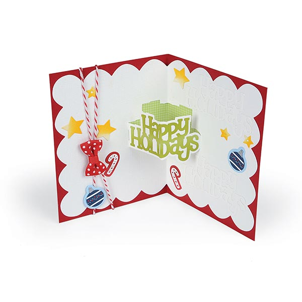 Sizzix - Thinlits Die Set - 10 Pack - Happy Holidays 3-D Drop-ins Sentiment by Stephanie Barnard