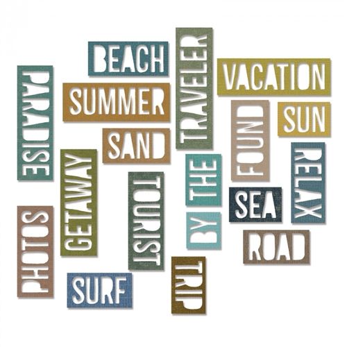 Sizzix - Tim Holtz Alterations - Thinlits - Vacation Words - Block 18 Pack Die Set