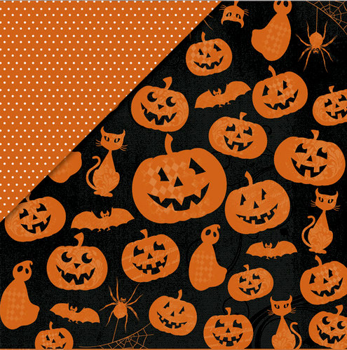 Little Yellow Bicycle - Trick or Treat Collection - Halloween - 12 x 12 Double Sided Black Metallic Paper - Halloween Friends
