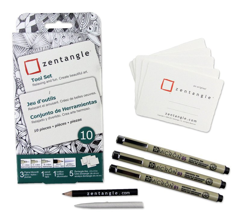 Sakura of America -Zentangle - Tiles - White - ATC - 10 Pack