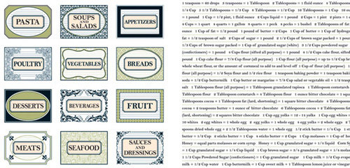 Teresa Collins - Bon Appetit Collection - 12 x 12 Double Sided Paper - Recipe Tags and Words