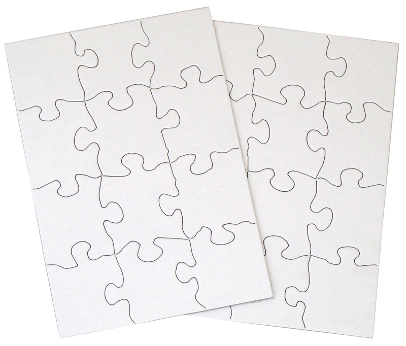 "Inovart 12-Piece Blank Puzzle, 5-1/2"" x 8"", White - 12 puzzles per pack"
