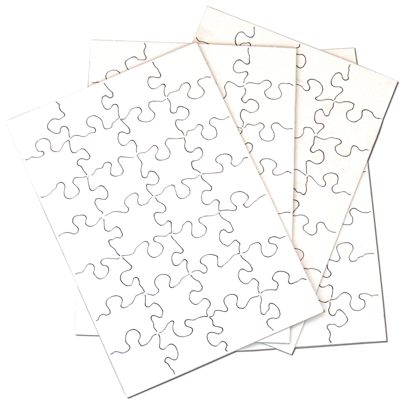 """Inovart Puzzle-It Blank Puzzles 28 Piece 5-1/2"""" x 8"""" - 12 puzzles Per Package"""
