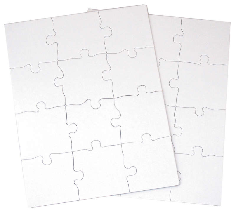 "Inovart Puzzle-It Blank Puzzles 12 piece 81/2"" x 11"" - 24 Per Package"