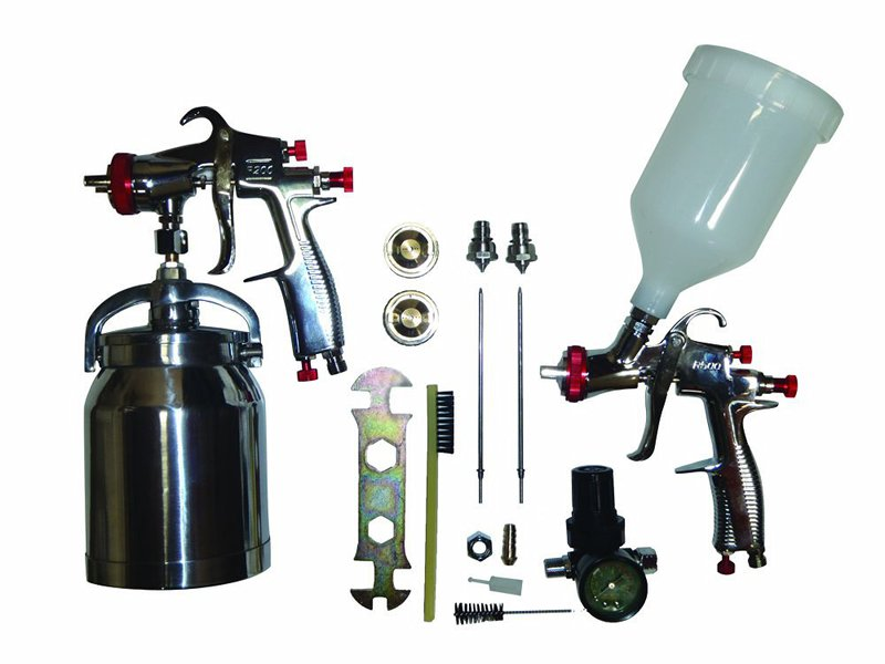 SPRAYIT SP-33310K LVLP Spray Gun Kit - SP-33000 LVLP Gravity Spray Gun, SP with 31000 Siphon Spray Gun, 1.3, 1.5, 1.7, 2.0mm Needles & Air Regulator
