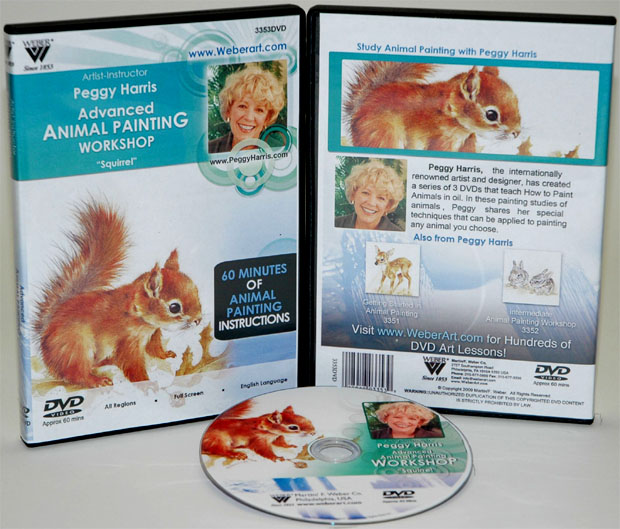 Peggy Harris's  Animal Oil Painting Workshop, More Difficult Squirrel, DVD: (1 Hour)