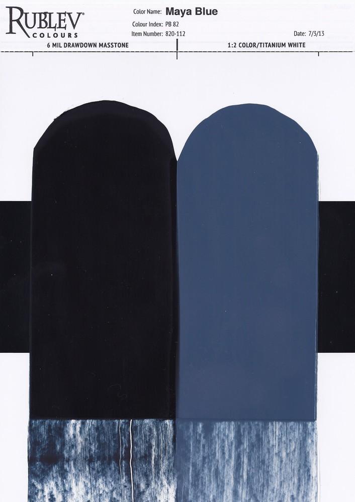 Rublev Colours Maya Blue Artists Oil Paint (drawdown)