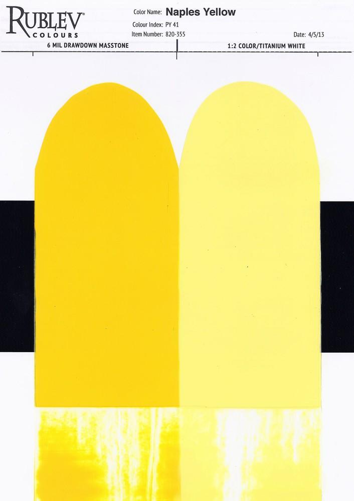 Rublev Colours Naples Yellow (Lead Antimonate) Oil Paint Drawdown