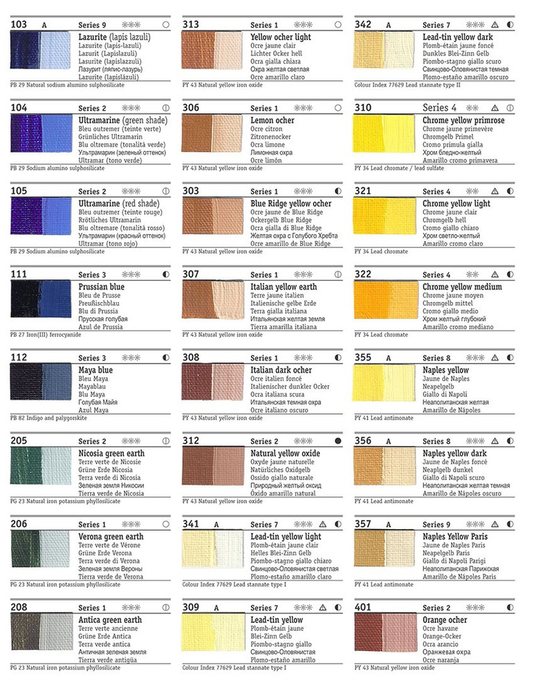Rublev Colours Artists Oil Color Chart (Page 2)