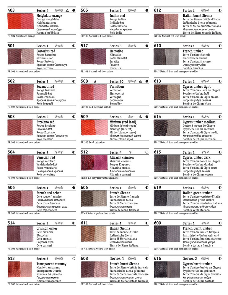 Rublev Colours Artists Oil Color Chart (Page 3)