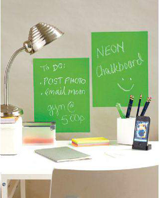 Wallies Peel & Stick Chalkboard Sheets : Neon Green