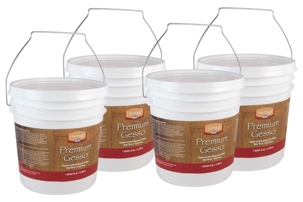 Heritage Premium Gesso: Professional, Gallon, Box of 4