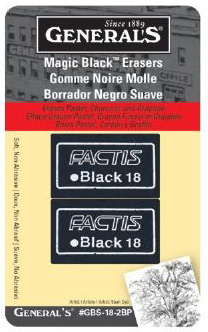General's Magic Black Soft Erasers: Pack of 2