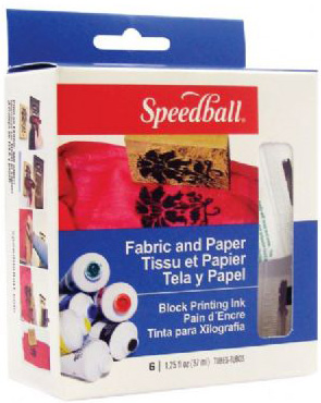 Speedball Fabric & Paper Block Printing Inks: 6 Color Set