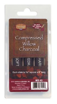 "Heritage Compressed Charcoal Sticks: 3-Piece Clamshell, Assorted, 5/16"" Square x 3"" Long"