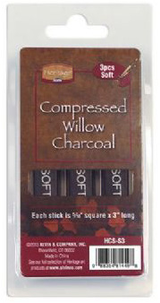 """Heritage Compressed Charcoal Sticks: 3-Piece Clamshells, Soft, 5/16"""" Square x 3"""" Long"""
