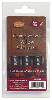 "Heritage Compressed Charcoal Sticks: 3-Piece Clamshells, Hard, 5/16"" Square x 3"" Long"