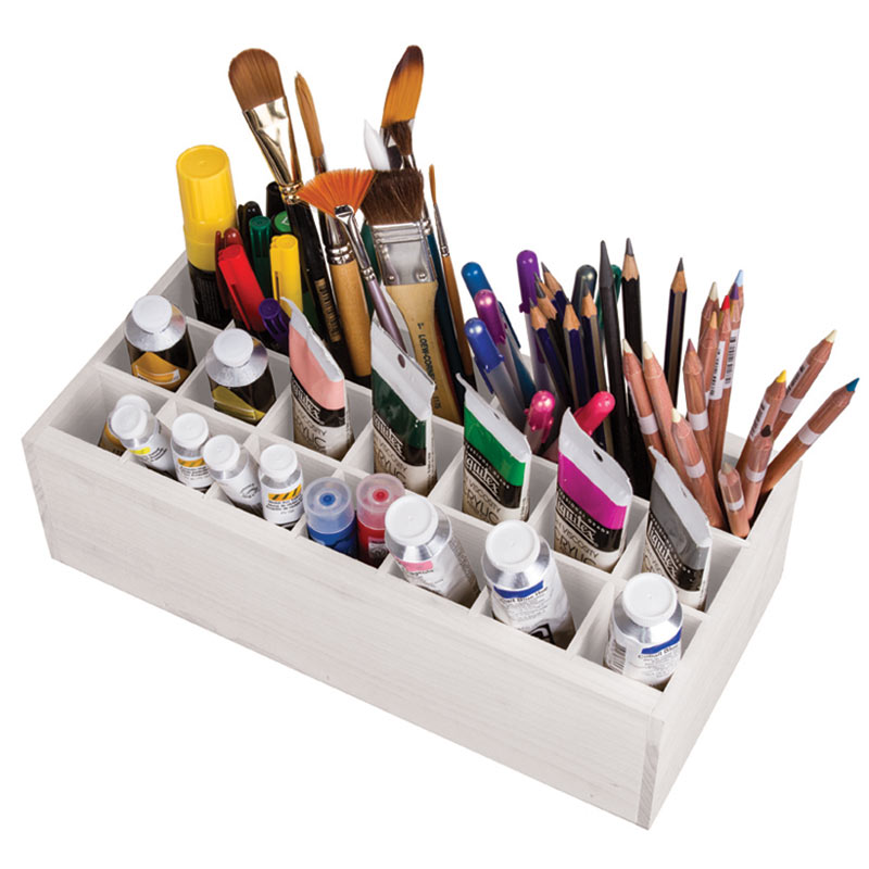 "ArtBin Paint Storage Tray: White Wood, 5.55"" x 12.125"" x5.75"""
