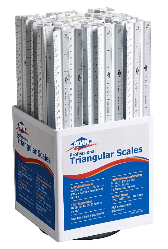 """Alvin Student 12"""" Triangular Scales Display: ALV-110P, ALV-110PX, ALV-111P, ALV-117PM, 66 Pieces"""