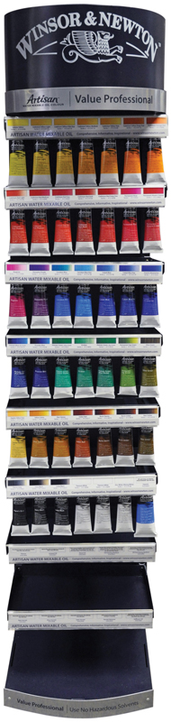 """Winsor & Newton Artisan Water Mixable Oil Color Paint Display Assortments: 12""""W x 53""""H x 12""""D"""
