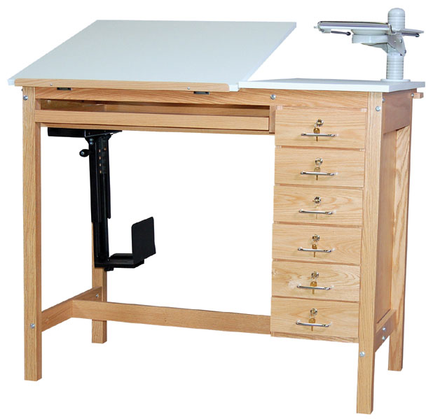 SMI Oak 6 Drawer Computer Table: 30 x 42