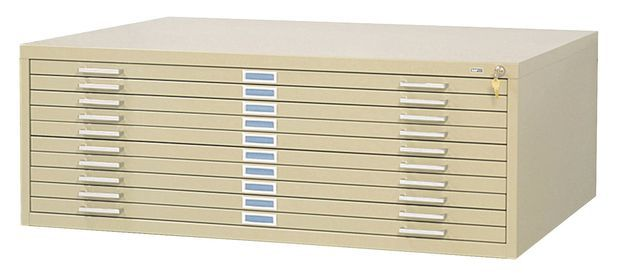 """Safco Steel Flat File: 10 Drawers, Sand, 16 1/2"""" x 46 3/8"""" x 35 3/8"""""""