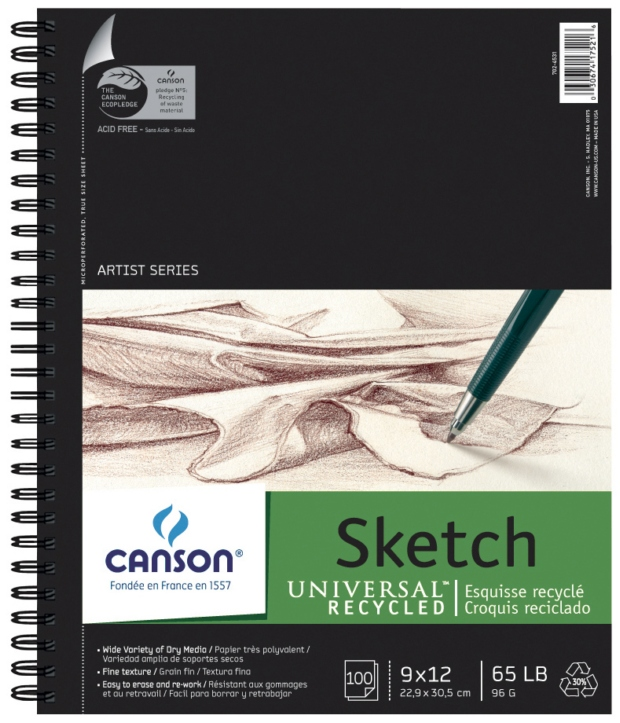 "Canson Artist Series Universal Recycled Sketch Wire Bound Pads: 9"" x 12"""
