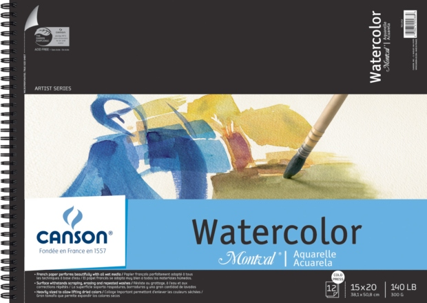 "Canson Montval Watercolor Paper: Wire Bound Pads, 15"" x 20"", 12 Micro-Perforated Cold Press Sheets, 140 lb./300g"
