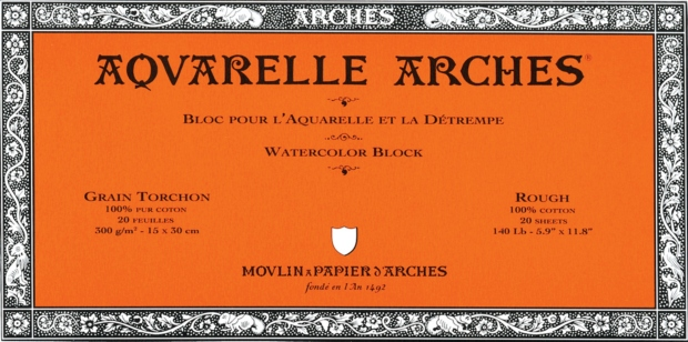 """Canson Arches Watercolor Paper: Rough, Natural White Blocks, 140 lb./300g, 20-Sheets, 5 9⁄10"""" x 11 4/5"""""""